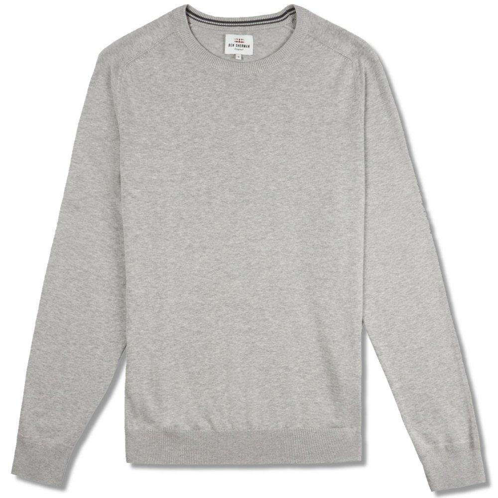 Ben Sherman Plain Crew Neck Knit Jumper Grey
