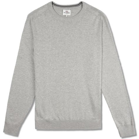 Ben Sherman Plain Crew Neck Knit Jumper Grey Thumbnail 1