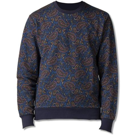 Ben Sherman Paisley Print Crew Neck Sweater Blue
