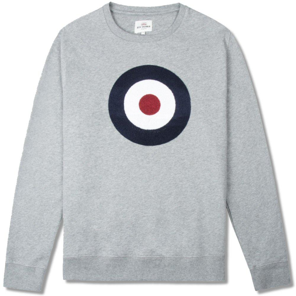 Ben Sherman Applique Target Crew Sweater Grey