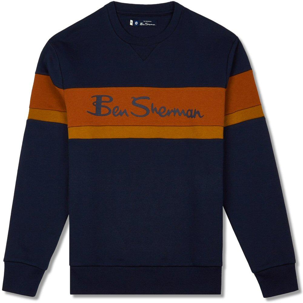 Ben Sherman Print Stripe Logo Crew Sweater Navy