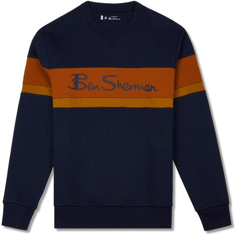 Ben Sherman Print Stripe Logo Crew Sweater Navy Thumbnail 1
