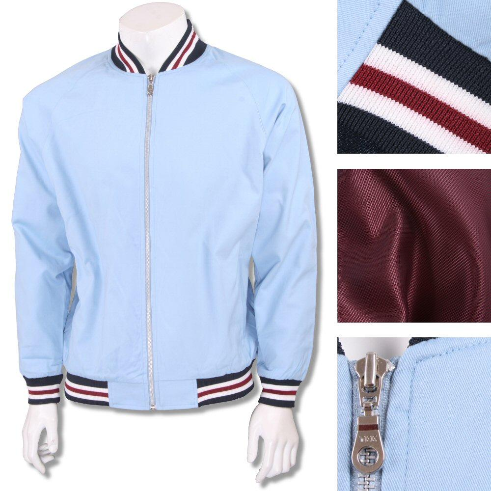 Real Hoxton London Mens Retro Tipped Monkey Jacket Sky Blue