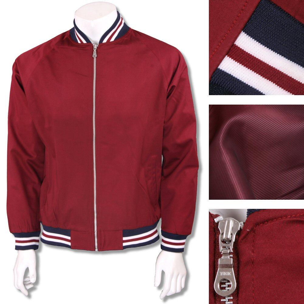 Real Hoxton London Mens Retro Tipped Monkey Jacket Burgundy