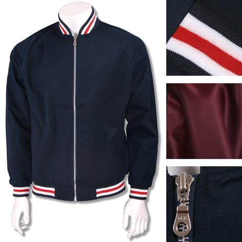 Real Hoxton London Mens Retro Tipped Monkey Jacket Navy/Red