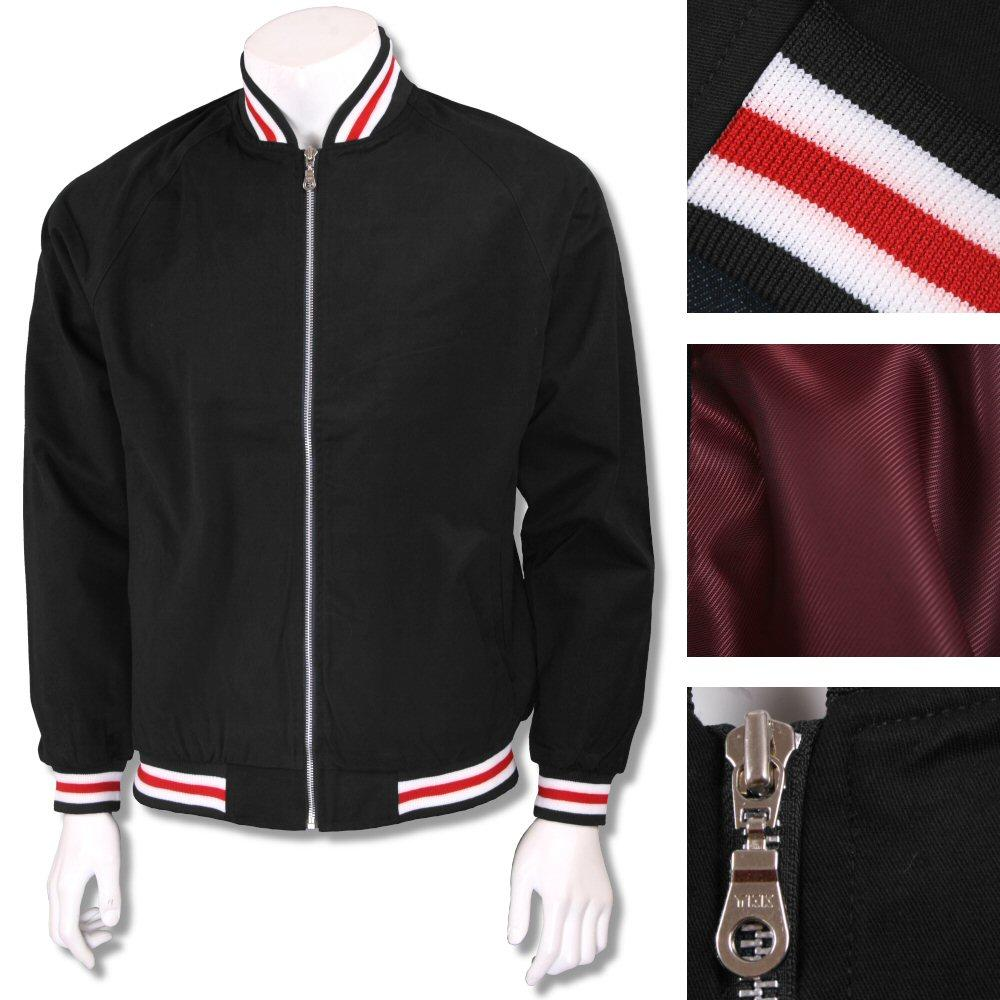 Real Hoxton London Mens Retro Tipped Monkey Jacket Black/Red