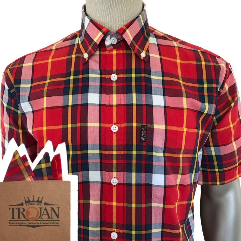 Trojan Records Short Sleeve Red Check Shirt FREE Hanky