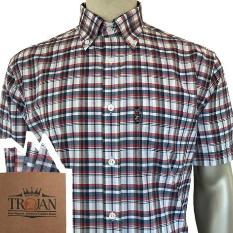 Trojan Records Short Sleeve Red Navy Check Shirt FREE Hanky