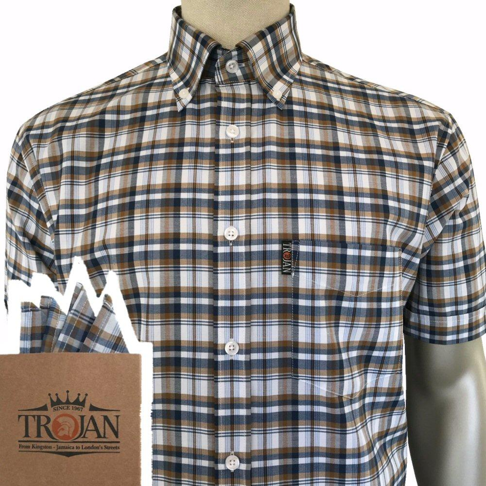 Trojan Records Short Sleeve Tan Navy Check Shirt FREE Hanky