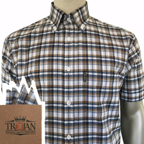Trojan Records Short Sleeve Tan Navy Check Shirt FREE Hanky Thumbnail 1