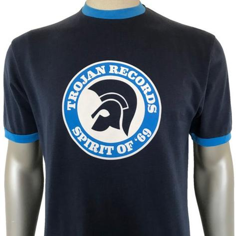 Trojan Records Spirit Of '69 Ringer T-Shirt Navy Thumbnail 1