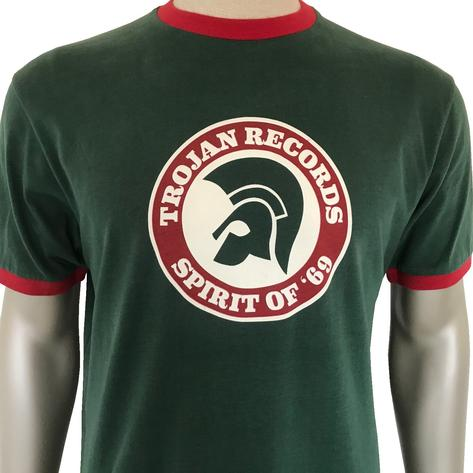 Trojan Records Spirit Of '69 Ringer T-Shirt Forest Green Thumbnail 1
