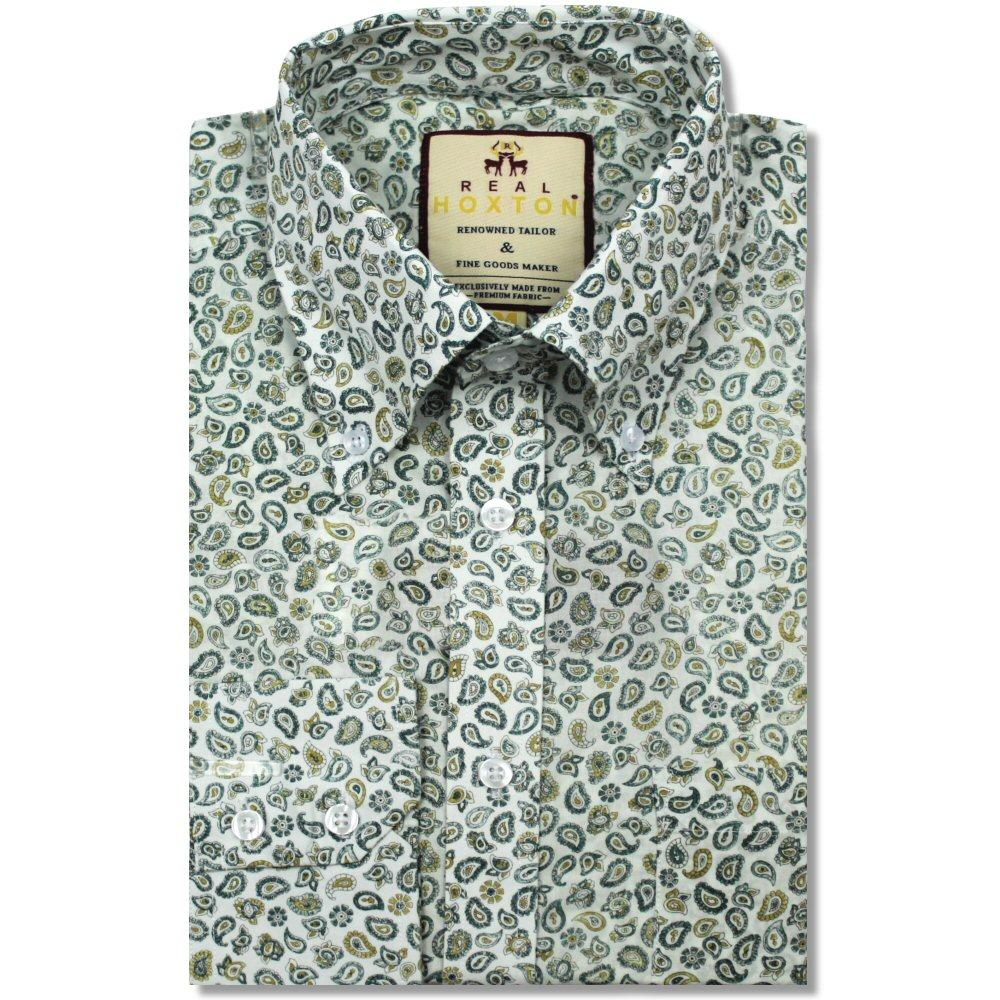 Real Hoxton Paisley Print Long Sleeve Shirt Green