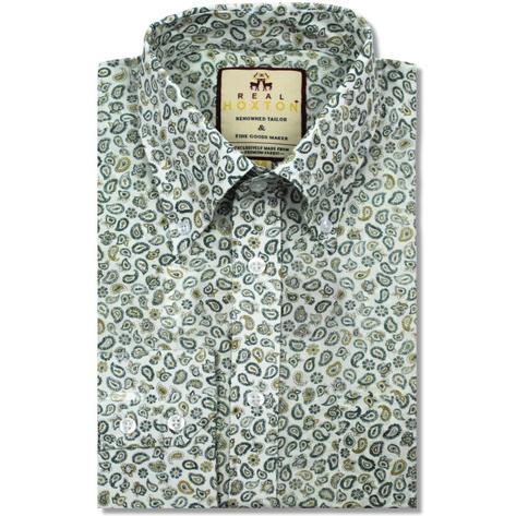 Real Hoxton Paisley Print Long Sleeve Shirt Green Thumbnail 1