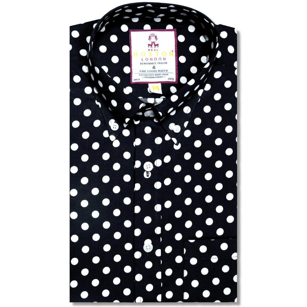 Real Hoxton Polka Dot Print Long Sleeve Shirt Black