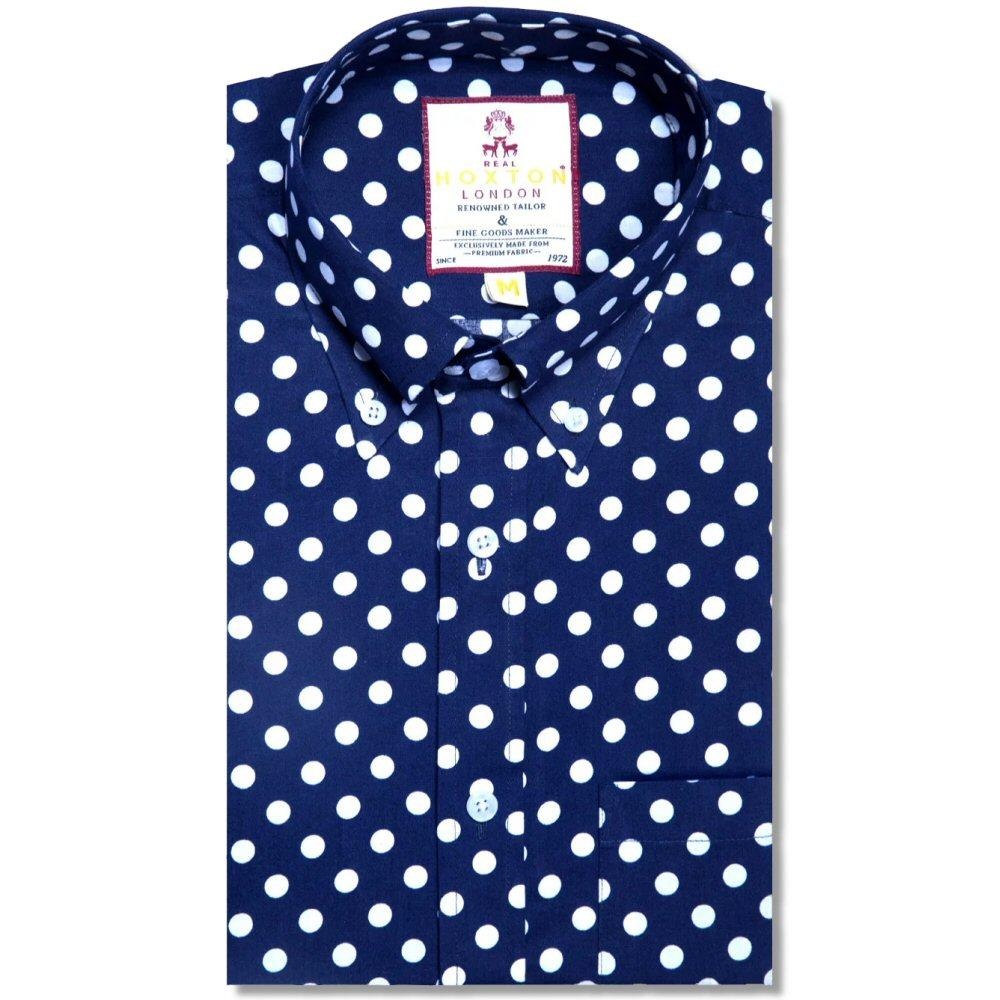 Real Hoxton Polka Dot Print Long Sleeve Shirt Navy