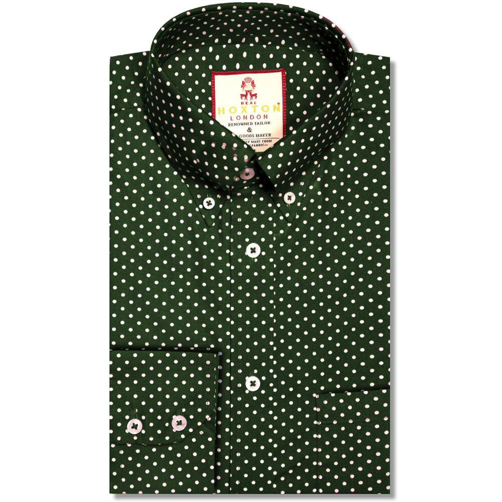 Real Hoxton Polka Dot Print Long Sleeve Shirt Green