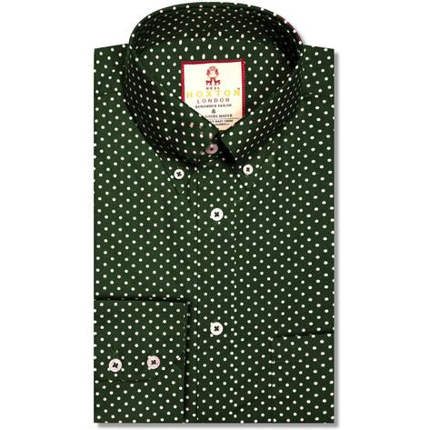 Real Hoxton Polka Dot Print Long Sleeve Shirt Green Thumbnail 1