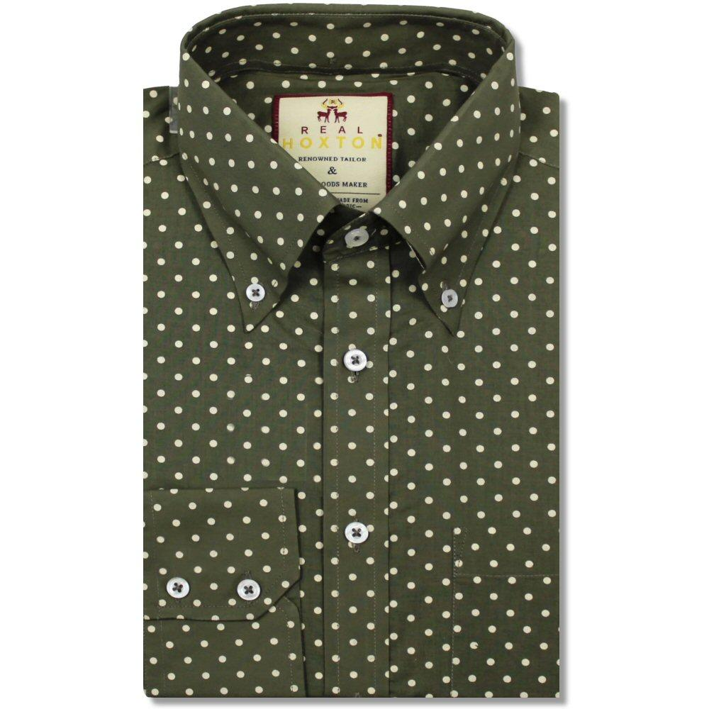 Real Hoxton Polka Dot Print Long Sleeve Shirt Olive