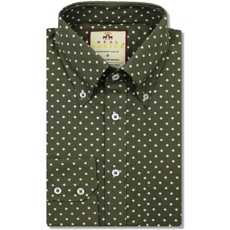 Real Hoxton Polka Dot Print Long Sleeve Shirt Olive Thumbnail 1