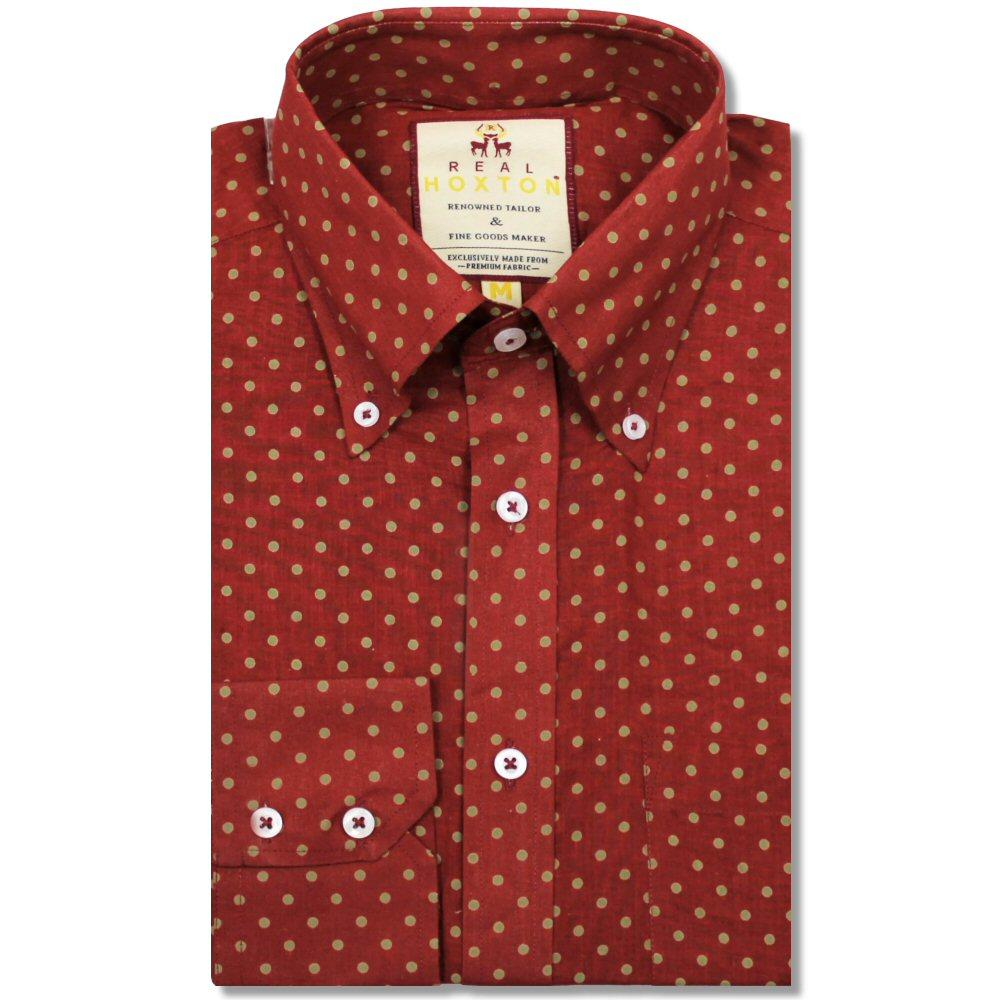 Real Hoxton Polka Dot Print Long Sleeve Shirt Tan