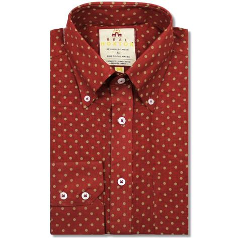 Real Hoxton Polka Dot Print Long Sleeve Shirt Tan Thumbnail 1