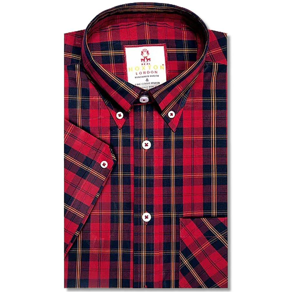 Real Hoxton Tartan Check Short Sleeve Shirt Red