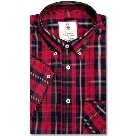 Real Hoxton Tartan Check Short Sleeve Shirt Red Thumbnail 1