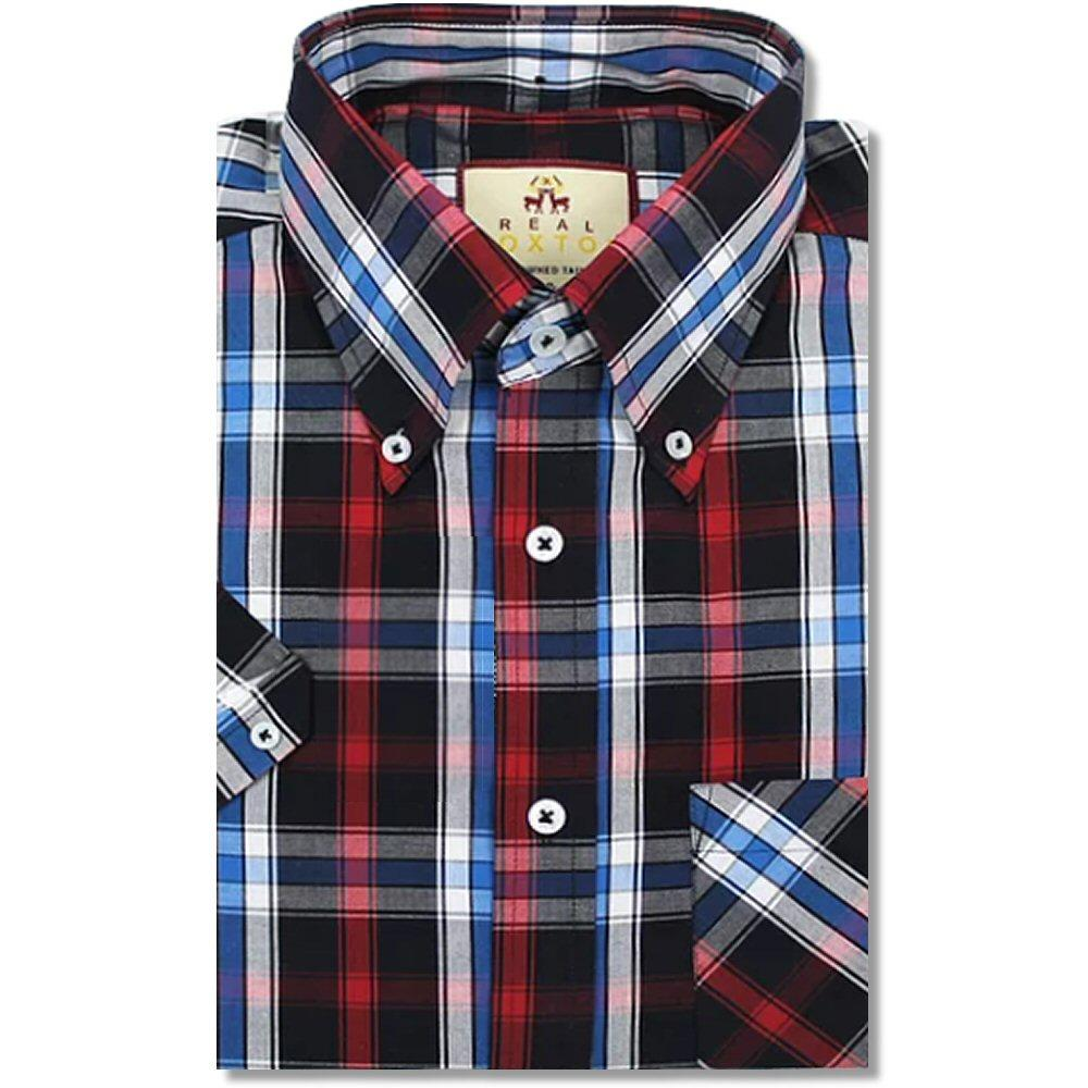 Real Hoxton Check Short Sleeve Shirt Black / Red