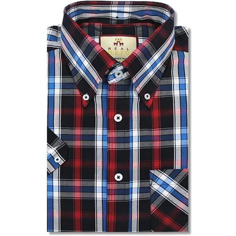 Real Hoxton Check Short Sleeve Shirt Black / Red Thumbnail 1