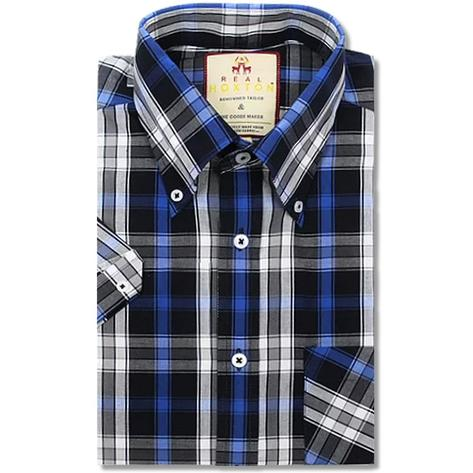 Real Hoxton Check Short Sleeve Shirt Black / Blue