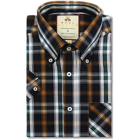 Real Hoxton Check Short Sleeve Shirt Black / Orange Thumbnail 1