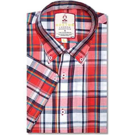 Real Hoxton Bold Check Short Sleeve Shirt Red Thumbnail 1