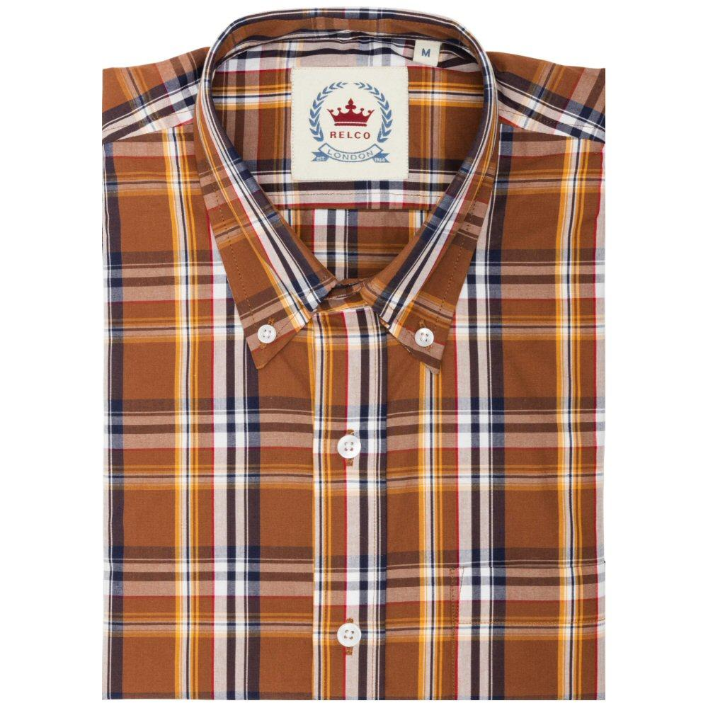 Relco Mens Button Down Check Short Sleeve Shirt Brown