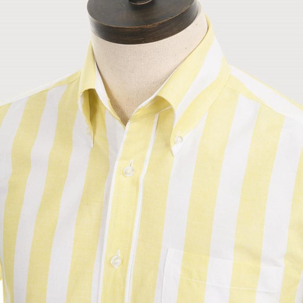 Art Gallery Button Down Collar Bold Candy Stripe S/S Shirt Lemon