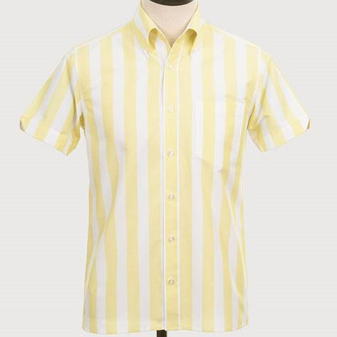 Art Gallery Button Down Collar Bold Candy Stripe S/S Shirt Lemon Thumbnail 2