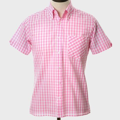 Art Gallery Button Down Collar Gingham Check S/S Shirt Pink Thumbnail 2