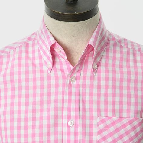 Art Gallery Button Down Collar Gingham Check S/S Shirt Pink