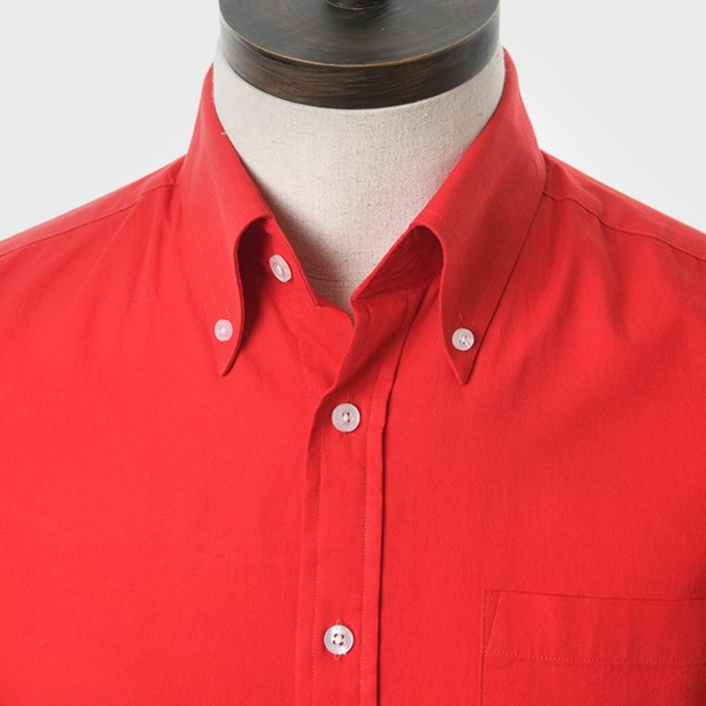 Art Gallery Button Down Collar Plain Cotton S/S Shirt Red