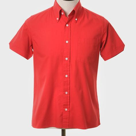 Art Gallery Button Down Collar Plain Cotton S/S Shirt Red Thumbnail 2