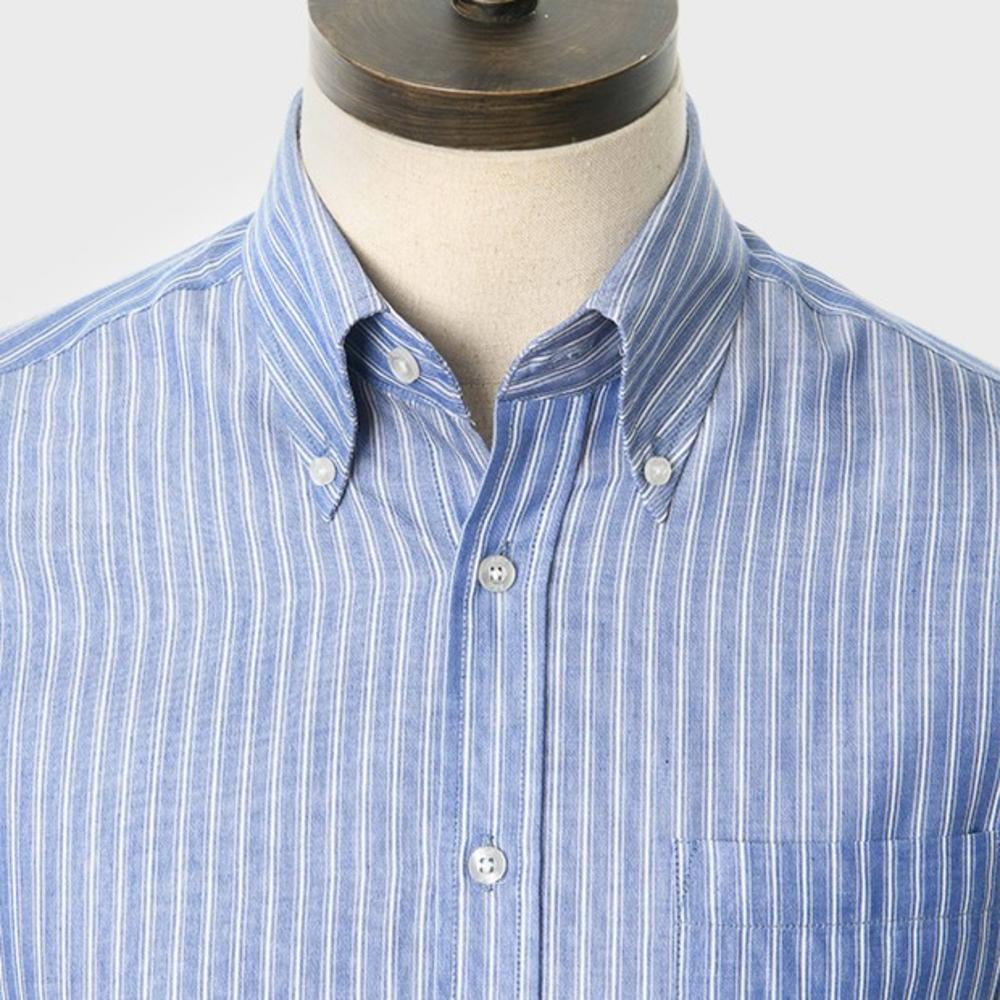 Art Gallery Button Down Collar Fine Stripe S/S Shirt Blue
