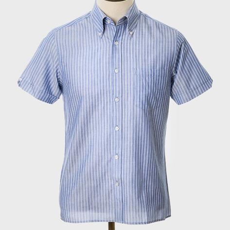 Art Gallery Button Down Collar Fine Stripe S/S Shirt Blue Thumbnail 2