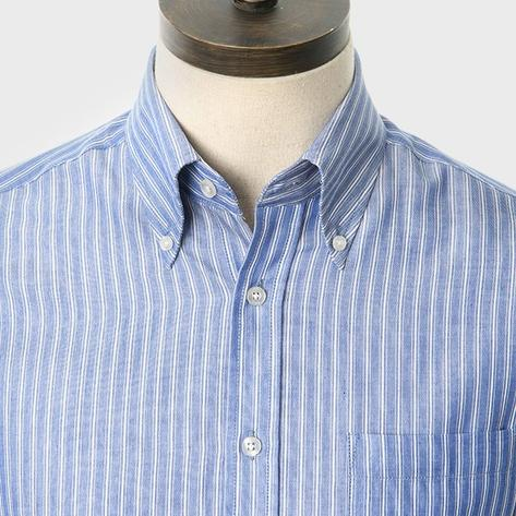 Art Gallery Button Down Collar Fine Stripe S/S Shirt Blue Thumbnail 1