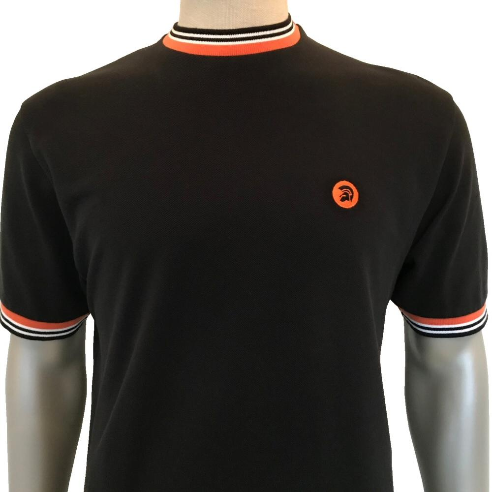 Trojan Records Mens Retro Multi Tipped Ringer T-Shirt Black
