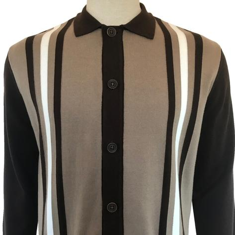 Ska & Soul Racing Stripe Long Sleeve Knit Cardigan Brown