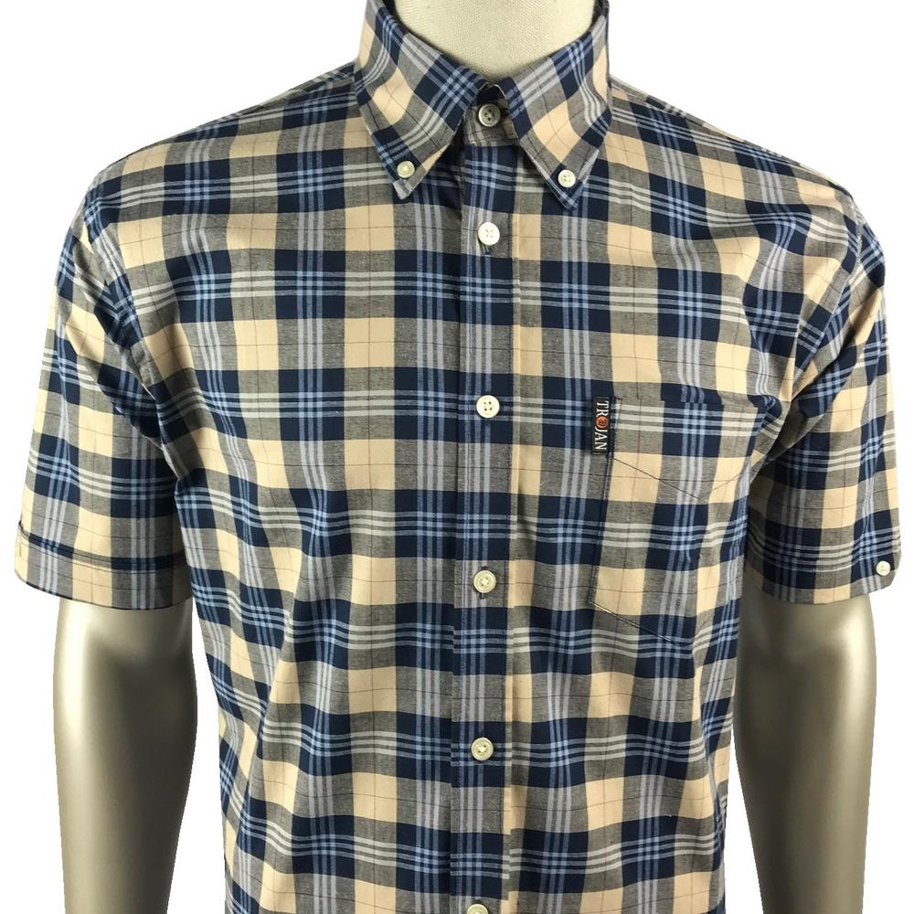 Trojan Records Mens Short Sleeve Tartan Check Shirt Stone