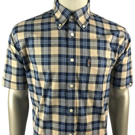 Trojan Records Mens Short Sleeve Tartan Check Shirt Stone Thumbnail 1