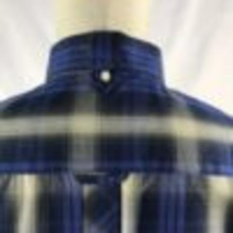 Trojan Records Mens Short Sleeve Shadow Check Shirt Navy Thumbnail 3