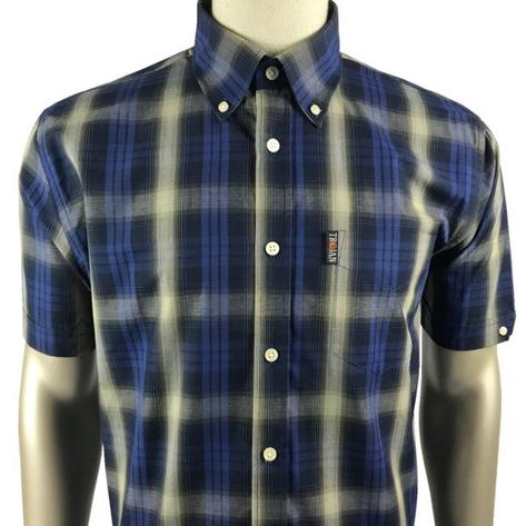 Trojan Records Mens Short Sleeve Shadow Check Shirt Navy Thumbnail 1