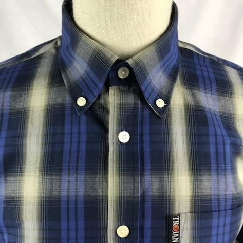 Trojan Records Mens Short Sleeve Shadow Check Shirt Navy Thumbnail 2